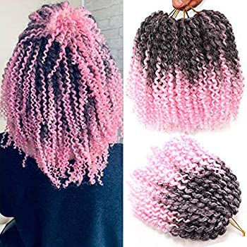 6 Bundles 8Inches Short Passion Twist Hair Marlybob Crochet Hair Jerry Curl Crochet Braiding Hair Afro Kinky Curly Crochet Hair Short Crochet Braids Hair Curly Crochet Hair For Black Woman  T1B/Pink