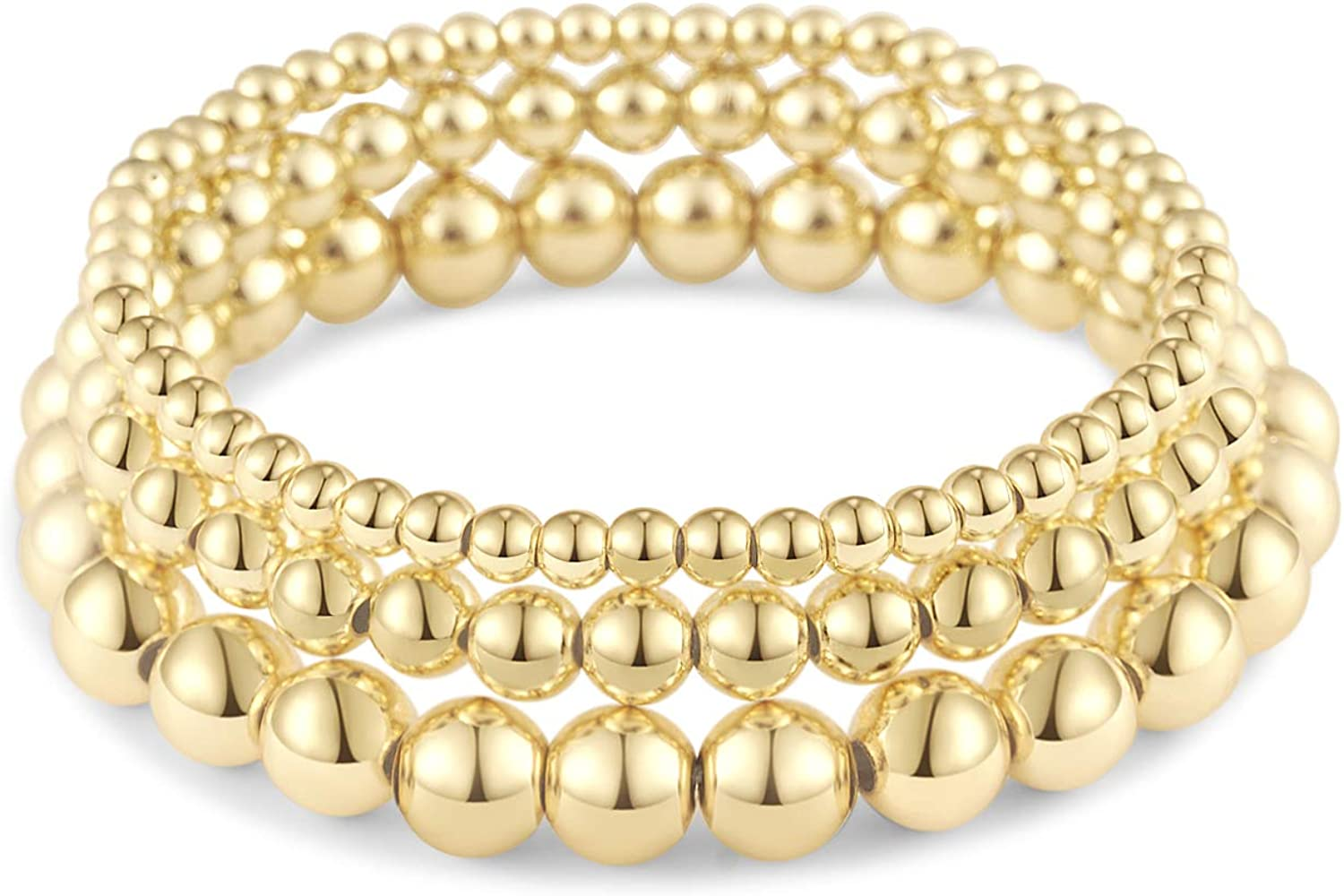 Beaded Bracelets for Women Stack Stretch Gold Silver Small Ball Beads Bracelets Dainty Paperclip Figaro Link Chain Bracelet Ankle for His and Her