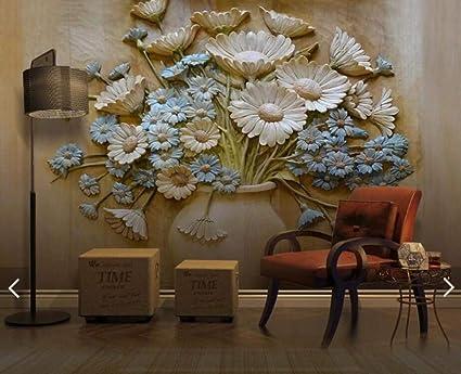 Quadri Moderni Soggiorno Xxl Poster Vaso In Rilievo Flower Wall Mural Photo Wallpaper Soggiorno Stampato Carta Da Parati Carta Da Parati Floral Murales Amazon It Fai Da Te