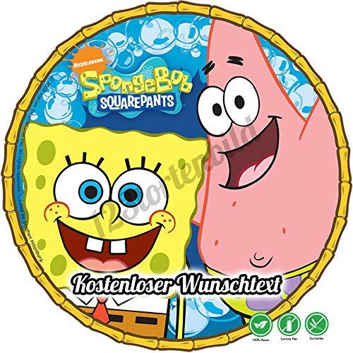 Tortenaufleger aus Zuckerpapier Geburtstag Tortenplatte Zuckerbild Motiv: Spongebob Schwammkopf