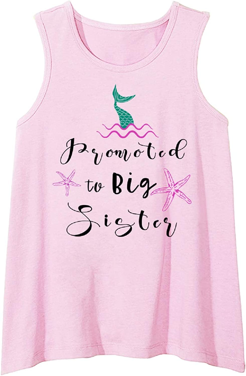 Rixin Toddler Girls Sleeveless Vest Tops Promoted to Big Sister Tank Tops Shirt Baby Kids Summer Clothes