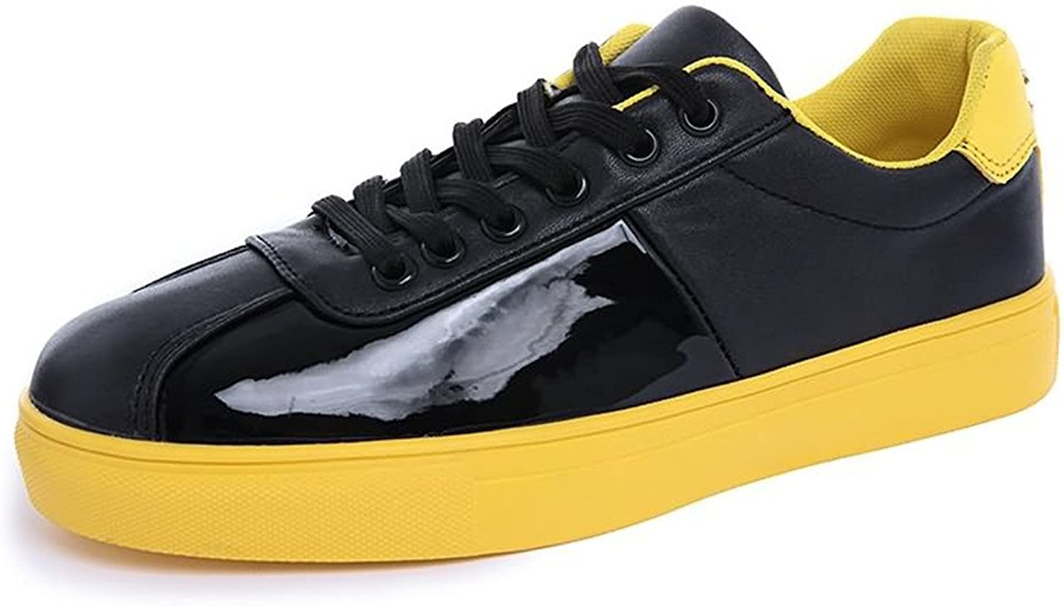 MUMUWU Men's Fashion Sneaker Flat Heel Lace Up Patent Leather Solid color shoes Carrier