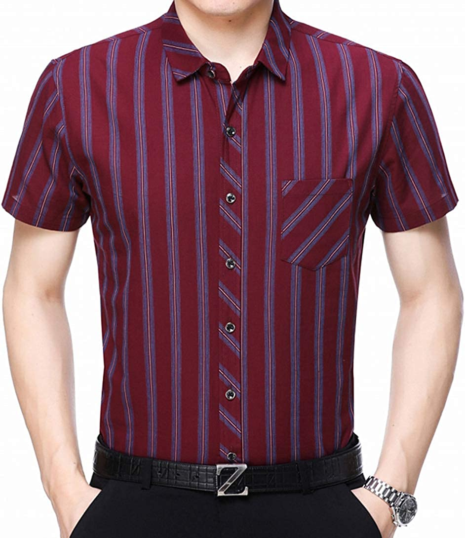 Men's Large Size Shirt Stripe Loose True Pocket Business Casual Middle-Aged Daddy Shirt Short-Sleeved Shirt