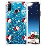 Misstars Cover per Huawei P30 Lite, Glitter Liquido di Natale Custodia Trasparente TPU Silicone Protettivo Morbido Brillantini Case per Huawei P30 Lite, Babbo Natale