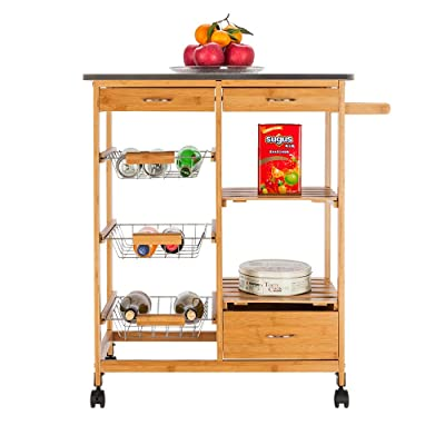 Moveable Kitchen Cart with Stainless Steel Tabl...