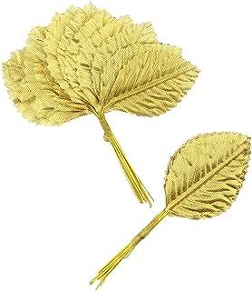 Silk Leaf Green Artificial Leaves Flower DIY Home Decorative Christmas Party Decoration Bouquet Wreaths Wedding Decor 120pcs (Gold)
