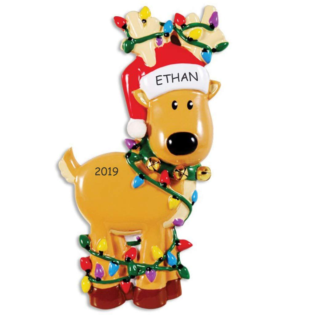 Image of Cute Tangled in Lights Personalized Reindeer Ornament