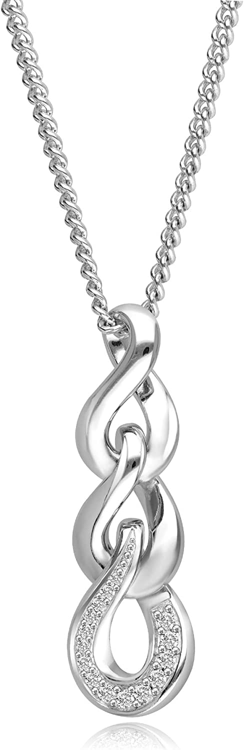 Women Infinity Love Pendant Necklace in Silver Rhodium Finish With White Topaz Accented Jewelry