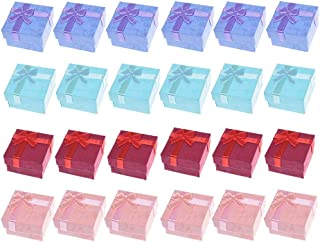 Colorsheng 24pcs Color Cube Hard Cardboard Small Gift Box for Ring Earring Jewelry(1.6