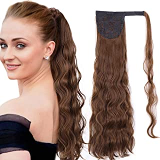 Stamped Glorious 24 Inch Long Wave Ponytail Hair Extension Wrap Around Ponytail Black Color Clip in on Hair Extensions for Women (Mixed Brown)