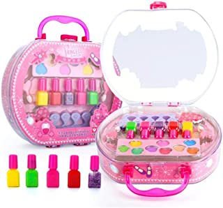 Girl Makeup Kit,Hamkaw No-Toxic and Harmless Hand Luggage Style Cosmetic Set,Fold Out Makeup Palette with Handle,Safety Tested -Washable