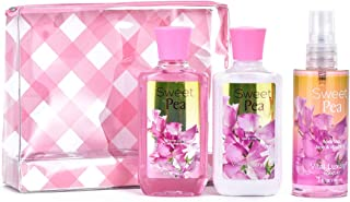 Vital Luxury Sweet Pea Bath and Body Gift Set For Women,Includes Body Lotion, Shower Gel and Body Mist (travel set)