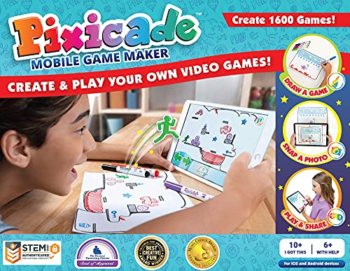 Pixicade Transform Creative Drawings to Animated Playable Kids Games On Your Mobile Device- Build 1600 Video Games- Gifts for 10 Year Old Girl, Boys- Award Winning STEM Toys for Ages 6 - 12+