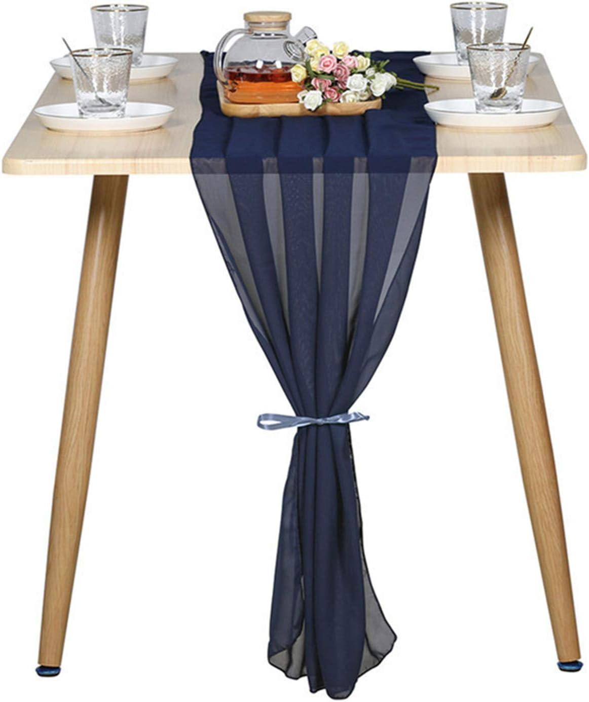 5pcs Navy price Blue 10Ft Luxury Chiffon 27x120 Runner Table Sheer Inch