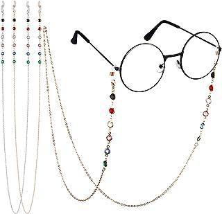 Lot de 2 chaînes de lunettes de soleil en perles avec chaîne de lecture, support de lunettes et cordon de fixation