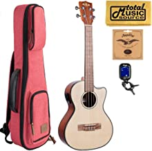 Kala KA-STGE-C Solid Spruce Top Gloss Tenor Electric Acoustic Ukulele w/Red Sonoma Case Bundle