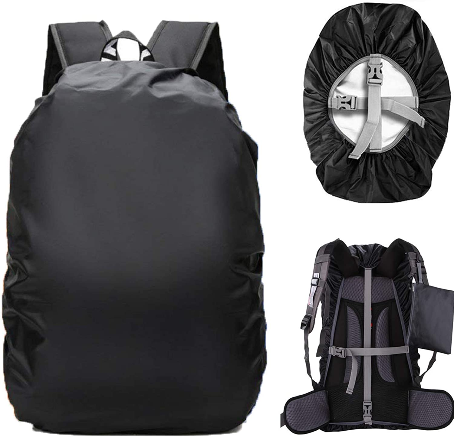 4055L Ultralight Backpack Rain Cover with Stored Bag & Survival Whistle, for Camping,Hiking,Cycling Black