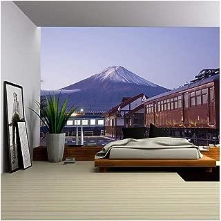 wall26 - Mt Fuji at Dawn and The Train Station. Train Station and Mt Fuji in The Background at Dawn. - Removable Wall Mural   Self-Adhesive Large Wallpaper - 100x144 inches