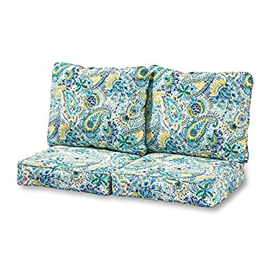 Greendale Home Fashions Deep Seat Loveseat Cushion Set in Baltic