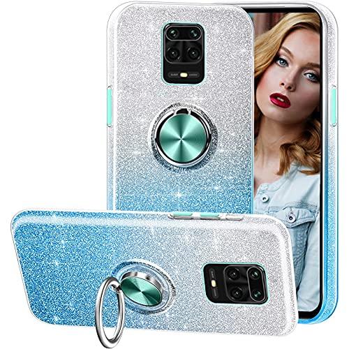 Compatible con el Estuche Redmi Note 9S,Funda de teléfono Brillante 3 en 1,Anillo Giratorio de 360 ° para Soportes magnéticos para automóvil,adecuadoRedmi Note 9S-Azul