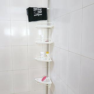 4-tier estante baño, estantería telescópica para ducha ducha esquina Rack–Acero inoxidable con revestimiento de tubo, altura de 160cm -300cm