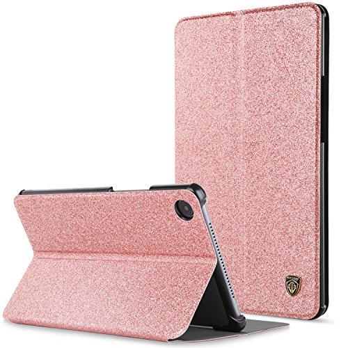 BENTOBEN Etui pour Huawei MediaPad M5 8.4,Mediapad M5 8.4 Coque Flip hybride double couche rigide PC avec paillettes de luxe simili cuir Bumper protection pour tablette Huawei MediaPad M5 8.4-Or rose