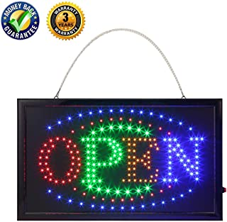 LED Open Sign,Anrookie (22x13inch 110v On/Off withChain) Open Signs for Business, 2 Modes for Stationary Lights or Animated, for Business, Walls, Window, Shop,Office Sign