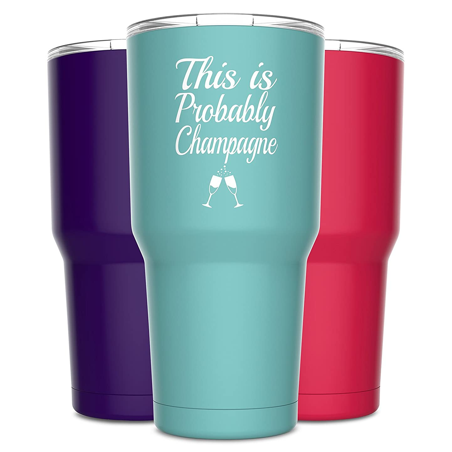 Alcee This is Probably Champagne Stainless Steel Funny Tumbler with Lid - Large 30 oz Vacuum Insulated Travel Mug - Funny Tumblers for Hot Coffee and Cold Drinks - Premium Gifts Women Men Mom Sister mhevwceqtts9