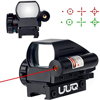 UUQ 4-16x50 Tactical Rifle Scope Red/Green Illuminated Range Finder Reticle W/RED(GREEN) Laser and Multi Coated Holographic Reflex Dot Sight (12 Month Warranty) (Red Dot Sight)