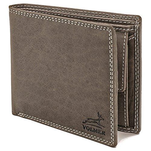 Portafoglio in vera pelle, Slim, confortevole e molto robusto PROTEZIONE RFID #Easycomfort (grigio)