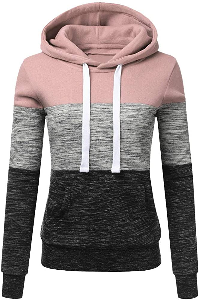 Haheyrte Hoodies for Womens Long Sleeve Patchwork Hooded Blouse Casual Sweatshirts Pullover Tops Shirts Sweaters