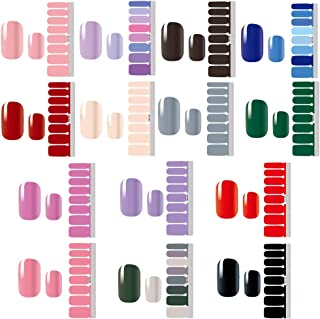 14 Sheets Nail Stickers, Pure Color Full Wraps Nail Art Adhesive Decals Nail Art Tips Stickers