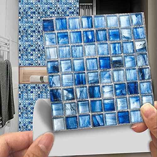 PMSMT 10 unids/Set 10/15/20 / 30cm 2D Plano Duro Azul mármol Mosaico azulejo Cocina Pared Pegatina baño Papel Tapiz decoración del hogar Arte Mural Cartel
