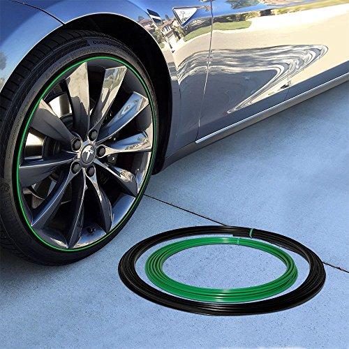 Upgrade Your Auto Wheel Bands Green Insert in Black Track Pinstripe Rim Edge Trim