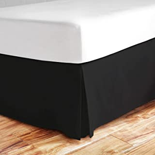 Valencia Beddings Split Corner Bed Skirt 21 Inch Drop Queen Size 100% Natural Cotton Wrinkle and Fade Resistant Queen Size, Black Solid