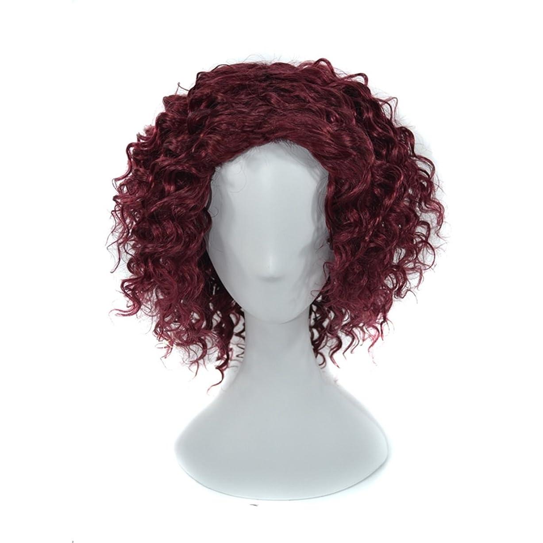 印象グローパケットJIANFU 220グラムの女性のための16インチの人間の小さなカールヘアレッドワインは染められないことができます。 (Color : Red wine)