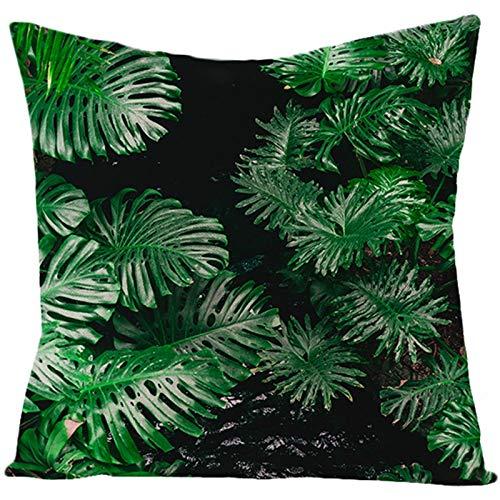 KnBoB Funda Cojin 45 x 45 cm Monstera Lino Negro Verde Estilo 21