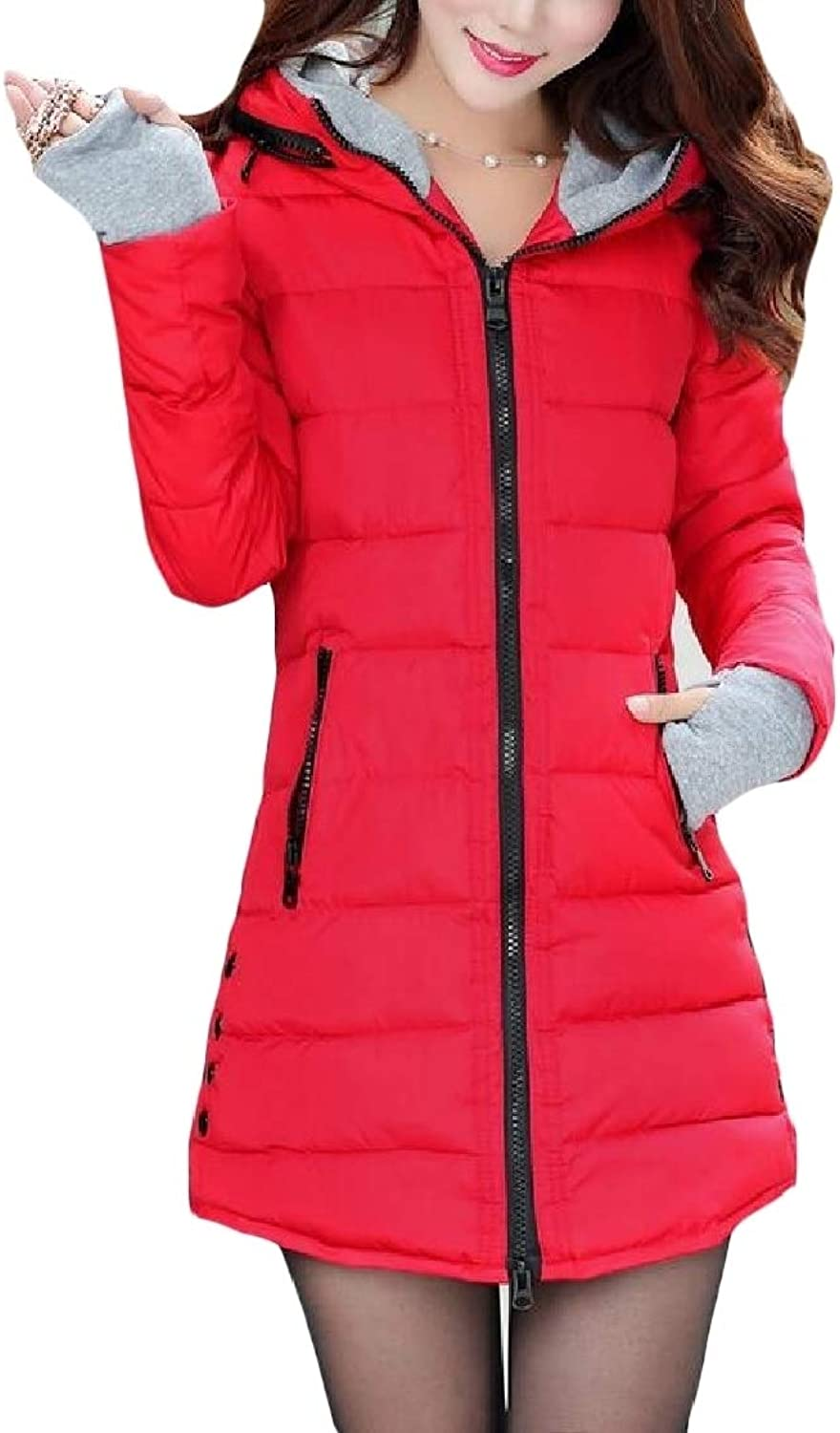 color&W Women with Hood Pure Colour Zipper Down Puffer