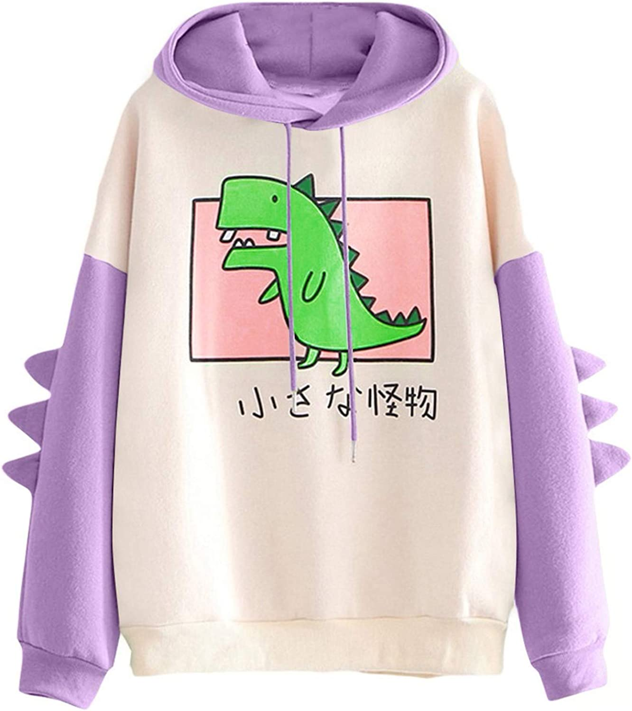 AODONG Hoodies for Women Dinosaur Hooded Sweaters Casual Long Sleeves Sweatshirt Cartoon Cute Pullover Tops