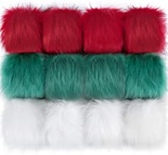 Auihiay 12 Pieces Christmas Pom Poms Balls with Elastic Loop Faux Fur Pompoms for Hats Scarves Gloves Bags Accessories (Red, Green, White)