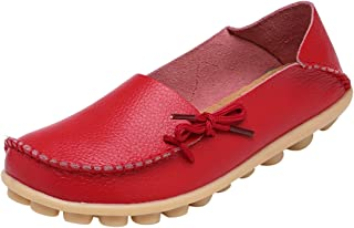Womens Leather Cowhide Casual Lace Up Flat Driving Loafers