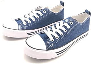 Women's Sneakers Casual Canvas Shoes, Low Top Lace up Cap Toe Flats (Order One Size Up)