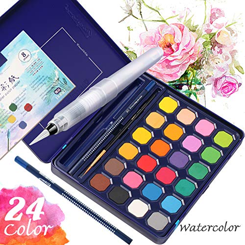 Watercolor Paint Set with Water Blending Brush, 24 Colors Artist Drawing Platte Gift Travel Case Portable Painting, Non Toxic & Vibrant Colors, for Students, Kids, Beginners Arts DIY Craft Projects