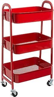 AGTEK Makeup Cart, Movable Rolling Organizer Cart, Red 3 Tier Metal Utility Cart