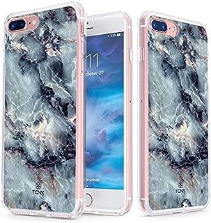 真正的彩色手机壳兼容 iPhone 8 Plus 大理石手机壳 - 透明背面印有透明灰色蓝色光泽大理石图案 - 柔软硬薄减震防尘保护壳