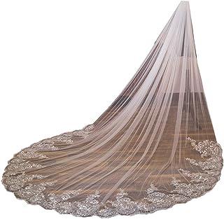 U-Hotmi Lace Sequins Edge Long Wedding Bridal Veil with Metal Comb