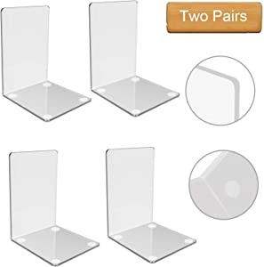 Plastic Acrylic Bookends Clear Design Non-Slip Bookracks for Bedroom Library Office School Decoration Gift (Transparent 2 Pairs)