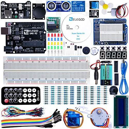 ELEGOO UNO R3 Project Super Starter Kit Compatible with Arduino IDE with Tutorial, 5V Relais, UNO R3 Bord, Power Supply Module, Servo Motor, Prototype uitbreidingsbord, etc. voor beginners.