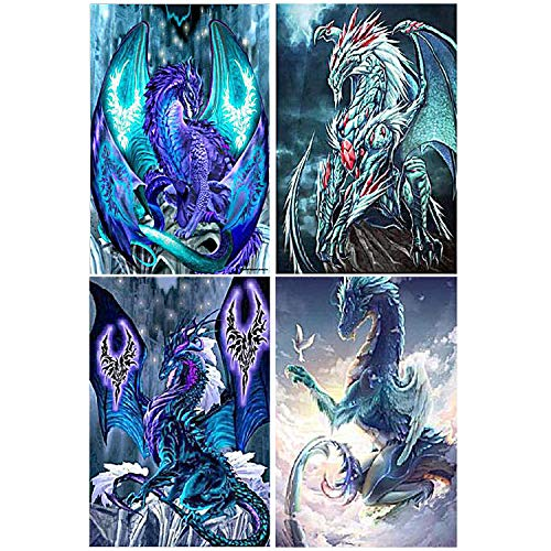 Elcoho 4 Pack Dragon 5D DIY Diamond Painting Kit for Adults Full Drill Embroidery Cross Stitch Painting for Home Decor