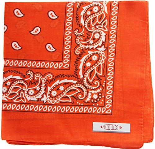 Soophen Paisley One Dozen Cowboy Bandanas (Red Orange 22 X 22 in, 12-Pack)